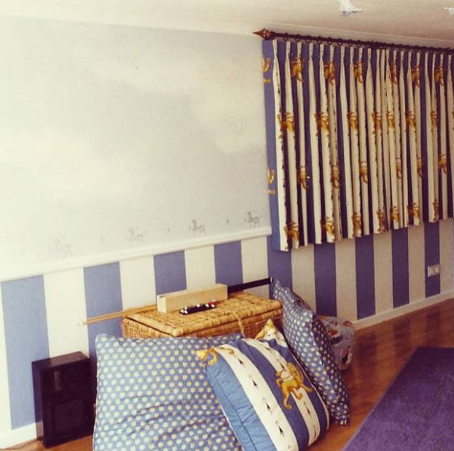 Blue striped room with stencil